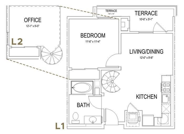 Plan A LOFT 1 Bedroom | 1 Bath | 747 sq. ft.