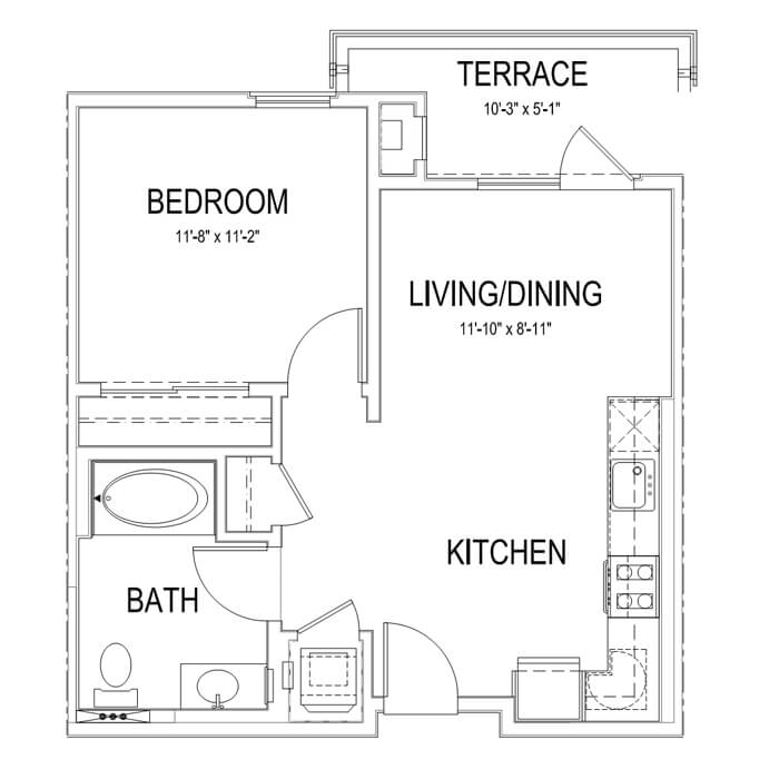 Plan A 1 Bedroom | 1 Bath | 598 sq. ft.
