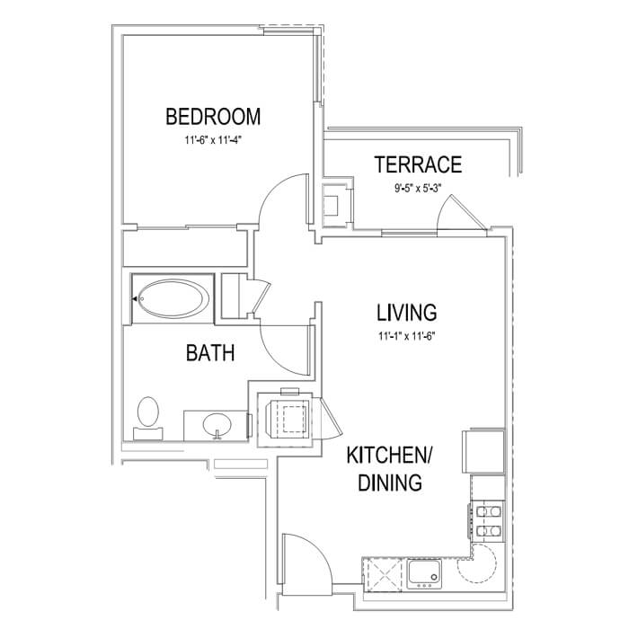 Plan A2 1 Bedroom | 1 Bath | 602 sq. ft.