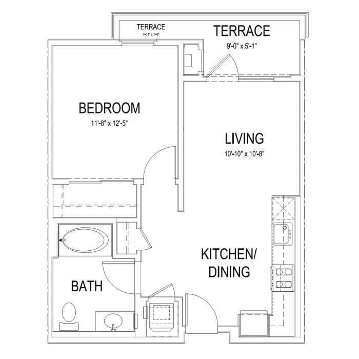 Plan A4 1 Bedroom | 1 Bath | 628 sq. ft.