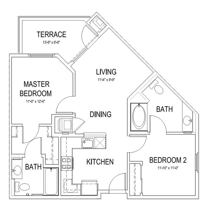 Plan B 2 Bedroom | 2 Bath | 842 sq. ft.