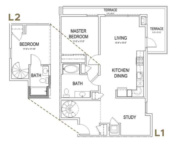 Plan B1 LOFT 2 Bedroom | 2 Bath | 1066 sq. ft.