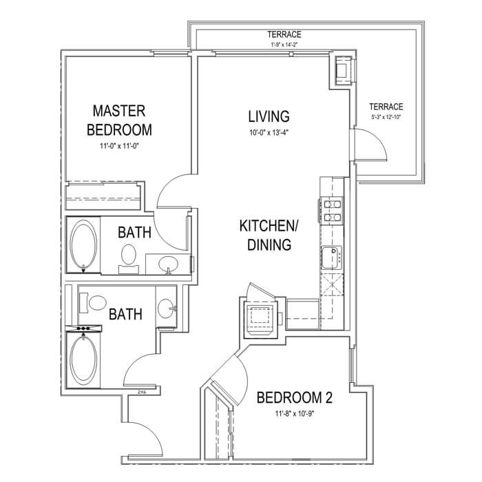 Plan B1 2 Bedroom | 2 Bath | 888 sq. ft.