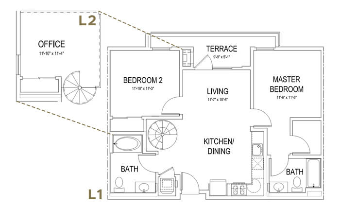 Plan B2 LOFT 2 Bedroom | 2 Bath | 1002 sq. ft.