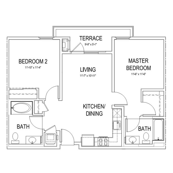 Plan B2 2 Bedroom | 2 Bath | 900 sq. ft.