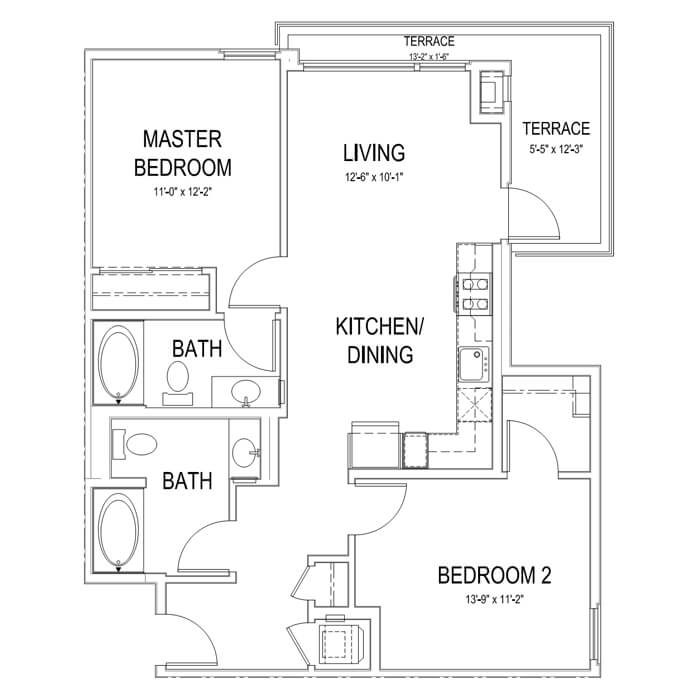 Plan B3 2 Bedroom | 2 Bath | 937 sq. ft.