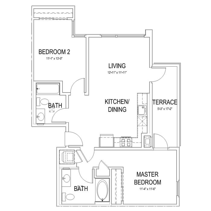 Plan B4 2 Bedroom | 2 Bath | 930 sq. ft.