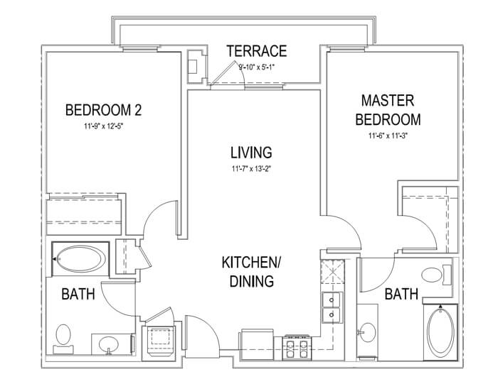 Plan B5 2 Bedroom | 2 Bath | 986 sq. ft.