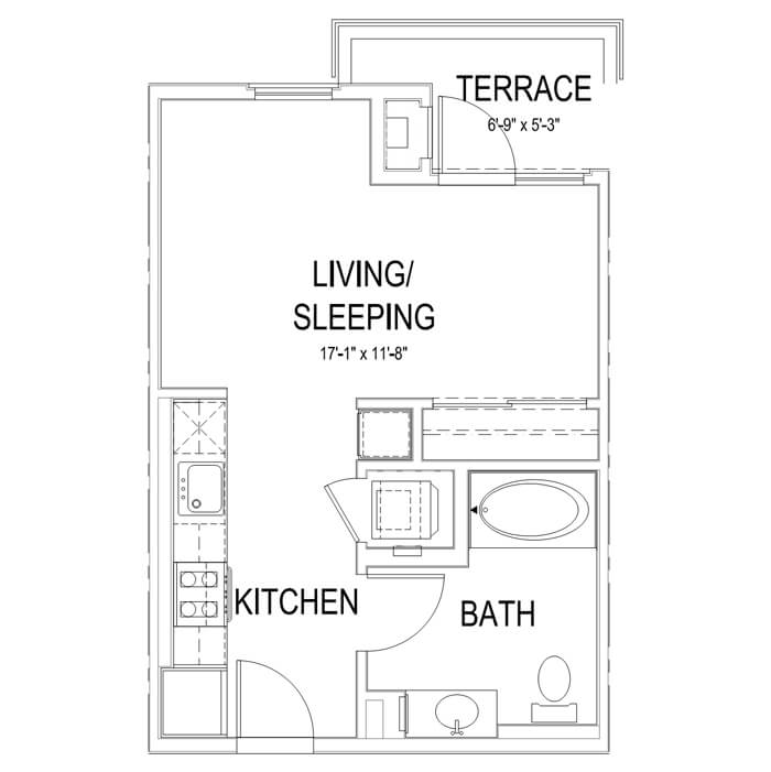 Plan S Studio | 1 Bath | 435 sq. ft.