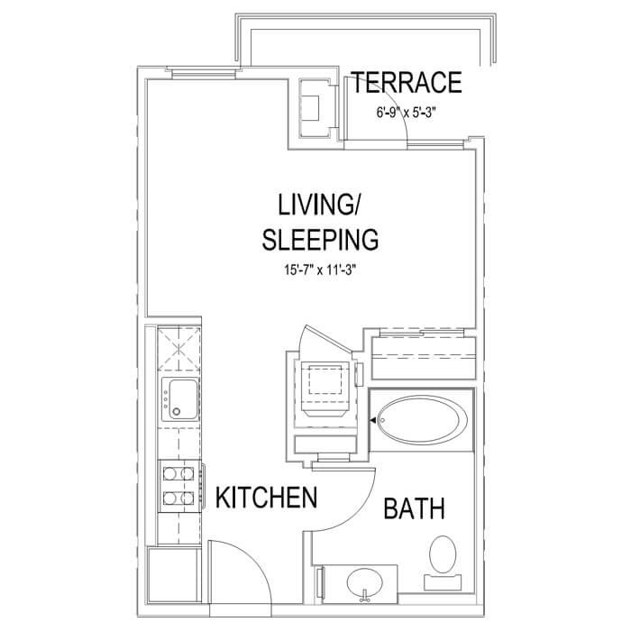 Plan S1 Studio | 1 Bath | 397 sq. ft.